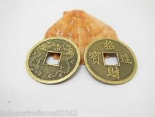 12 Pcs Bronze Metal Chinese Auspicious I Ching Coins 32mm+Velvet Pouch(FS-CO33)