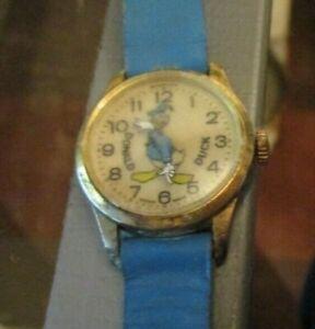 Vintage Disney Donald Duck Bradley Character Watch Swiss Blue band works