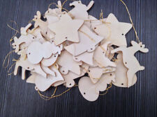 60x Wooden Christmas Tree Hangers Decorations Xmas Reindeer Snowman Santa Bell
