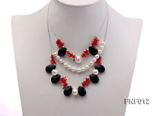 Three-row 6-7mm Freshwater Pearl  Black Agate Beads Red Coral Sticks Necklace