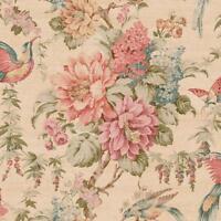 Wallpaper Pink Coral Green Brown Teal Tan Blue Floral Vine & Birds Butterflies