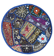 "INDIAN HANDMADE 16"" ZARI WORK ROUND CUSHION COVERS ETHNIC HOME-DECOR ART"