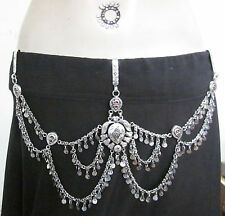Coin Chain Metal BELT Vintage Silver Tribal Fusion Boho Gypsy Hippy Belly dance