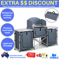 Portable Camping Kitchen Table Island Bench Folding Camp Picnic Food Storage NEW