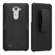 Verizon LG G3 | Textured Grip Slim [Hard Case w/ Kickstand + Belt Clip Holster]