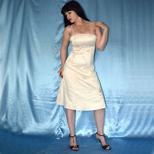 besticktes Satin COCKTAILKLEID in creme* S 36 * Etuikleid* Abendkleid* Ballkleid