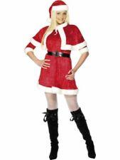 Ladies Miss Santa fancy dress costume Womens Mrs Claus Christmas Cape Hat Xmas