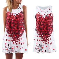 Fashion Women Floral Summer Dress Peach Heart Printing Sleeveless Loose D Gift