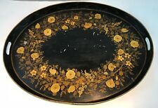 "Antique Toleware Tole Ware Hand Painted Large 24"" x 18"" Tray Flowers Tin Platter"
