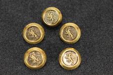 Vintage Royal Lion Crest Crown & Sword Military Style Button Set of 5