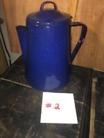 Blue with White Specks Enamelware Cowboy Style Coffee PotWith Lid #2