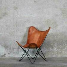Vintage Brown Leather & Arm Butterfly Chair Genuine Tan Leather Home Decor