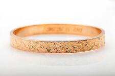 Antique Edwardian 1911  Engraved 10k Yellow Gold Bangle Bracelet Heavy 14g
