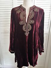 Womens Med Boho Tunic Top Wine Red Velvet Silk Embroidery Celtic Knots Chicos 1