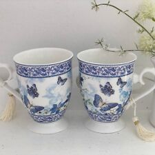 SHABBY VINTAGE CHIC BUTTERFLY FINE CHINA PORCELAIN SET 2 FLORAL MUGS GIFT BOXED