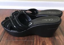 COLE HAAN Rich Black Suede Patent Leather SLIDE SANDALS SHOES 8 B Wedge Heels