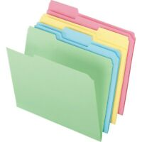 Staples Colored Top-Tab File Folders 3 Tab Assorted Pastels Letter Size 24/PK