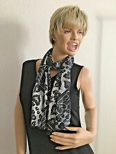 "Black White Striped 13X60"" Bandana Scarf with Hearts"