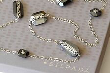 """Silpada Cubic Zirconia Sterling Silver Hematite """"Visions"""" Long Necklace N2924"""