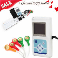 3 Channel 24H ECG/EKG Holter System Analyzer Recorder Monitor+PC Software New