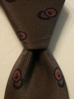 BERGDORF GOODMAN Men's 100% Silk Necktie Luxury Geometric Brown/Pink/Blue EUC
