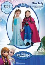 La simplicité à coudre motif Disney Frozen Anna & Elsa Enfant Costume 3-8 1233
