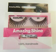 AMAZING SHINE HUMAN HAIR FALSE EYELASHES EYE LASHES - #99 - WITH ADHESIVE TUBE