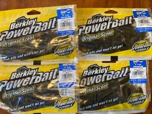 "4 NEW Packs BERKLEY POWERBAIT 3"" SABERTAIL BUG 32ct Bulk MPSTB3-GP Green Pumpkin"