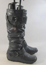 "gray 1.5"" hidden comfortable wedge heel faux leather knee boot .Size. 5"