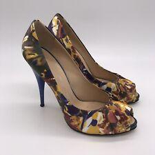 GIUSEPPE ZANOTTI Designer Peep Toe Pumps Stiletto Heels Size 39 US 9 Blue Floral