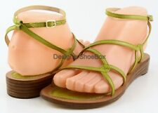 $165 REBECCA MINKOFF BEACH BABE Lime Yellow Leather Designer Flat Sandals 6.5