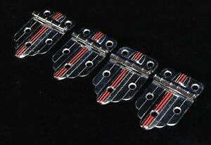 4 MATCHING VINTAGE RETRO CHROME WITH RED STRIPES CABINET HINGES