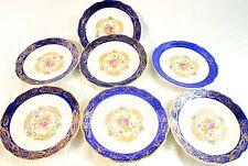 "Vintage Madam Du Barry Royal Blue 22K Gold Plates By Stetson 7"""