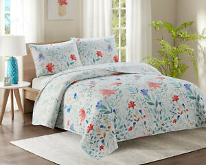 KIPLUX Luxury Double Bed Quilted Bedspread Throw Two Pillowcases Reversible YJ16