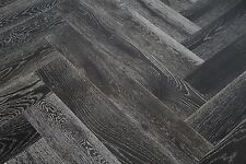 Black Stained & White Oiled Oak Herringbone Flooring 900x150x14/3mm HO1403