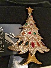 Signed Swan Swarovski 2000 Christmas Tree Brooch Pin