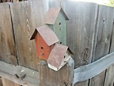 New ListingVintage Handmade Faux 3 Wooden Birdhouses Red Green White Primitive Rustic Farm