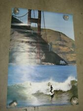 Surf Sotto Il Golden Gate surfing Poster Vintage wave surfer 1970's under C1387
