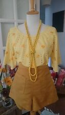 Yellow Vintage Inspired Floral Daisy embroidered Top Shirt Festival Hippie