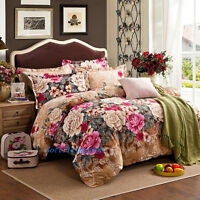 Floral Brown Quilt/Doona/Duvet Cover Set Single/Double/Queen/King Bed Cotton