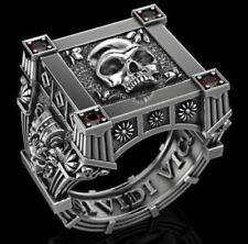 Sterling silver S925 Unique Gothic Vampire Skull Mens Biker oxidized Ring