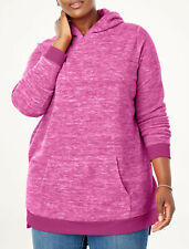 Woman Within Marled Microfleece Hoodie Pullover Womens Plus Size 1X 22/24 *Nip!*