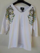 Cavalli CLASS blanco señoras Leopardo Animal Joya Cuello en V T-Shirt Tamaño XXS PVP: £ 165