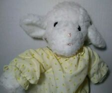 "Vintage Eden White Lamb Plush Yellow Dress 13"" Stuffed Animal Soft Toy Sherpa"