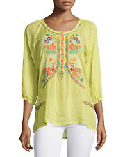 NWT $233 Johnny Was Ari Rayon Embroidered Blouse Tunic Top XL L Yellow Lime