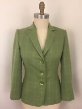 Talbots's Woman's Green Check Plaid Wool And Cashmere Jacket Size 6 Petite