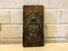 Vintage Possibly Antique Chalkware Man's Face on Wooden Base Wall Mount