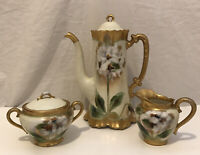 Theodore Haviland Limoges France Beautiful Coffee Pot, Creamer, Sugar Bowl