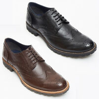 Mens Italian Real Leather 4 Eyelet Black Brown Brogue Shoes - All Sizes