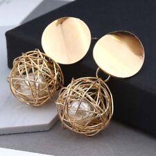Femmes or rond perle Cage Dangle Drop boucles d'oreilles oreille Stud bijoux